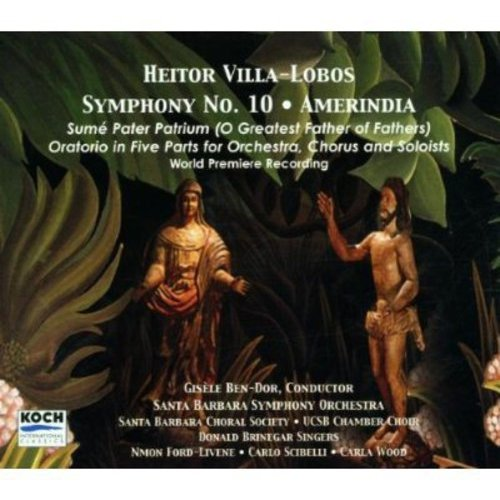 "As Sibelius is to Finland, as Copland and Ives are to America, Heitor Villa-Lobos is to Brazil. While Villa- Lobos seems best known for his works inspired by Brazil's cultural melting-pot, his symphonic works seem to have got lost in the shuffle.<BR>Perhaps this release, the world premier recording of his Symphony No. 10 ""Amerindia,"" will go towards changing that. This is a dense, ambitious (though certainly not ""difficult"") work in which Villa-Lobos integrates the essence of Brazil's diversity with the modern European language of the symphony and the oratorio. For its vocal substance, this piece requires, in addition to vocal soloists, choirs singing in three languages: Latin, Portuguese and the indigenous Tupi. There are startling changes in tempi throughout, and a grandiose (in the best sense) approach-the score requires a large orchestra including piano, organ, harp and lots of percussion.<BR>At many points, ""Amerindia"" recalls the majestic scope of Mahler's Symphony No. 8 ""Symphony Of A Thousand."" Yet there is nothing ponderous or unwieldy about this music-Villa-Lobos conveys a fervent yet joyous nationalistic passion, and he does so with the expressions of the European tradition conjoined with the rich cultural history of his homeland. All this is brought to vibrant life by the sympathetic baton of Gisele Ben-Dor, whose South American background gives her a fine rapport to the music."