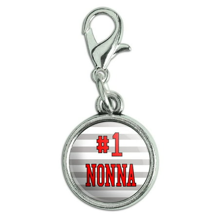 #1 Nonna Number One Italian Grandma Antiqued Bracelet Pendant Zipper Pull Charm with Lobster Clasp ()