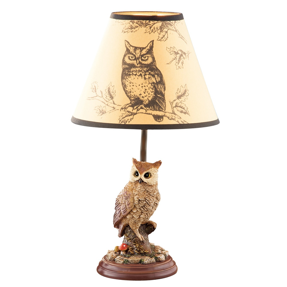 Woodland Owl Intricately Detailed Table Lamp And Shade