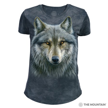 The Mountain WARRIOR WOLF Blue Adult Female T-Shirt](Adult Female)