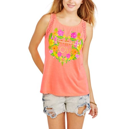 No Boundaries Juniors' Graphic Lace Back Tank