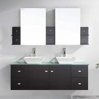 "Clarissa 61"" Glass Double Bathroom Vanity Cabinet Set in Espresso"