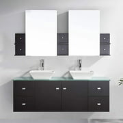 "Clarissa 61"" Glass Double Bathroom Vanity Cabinet Set in Espresso"