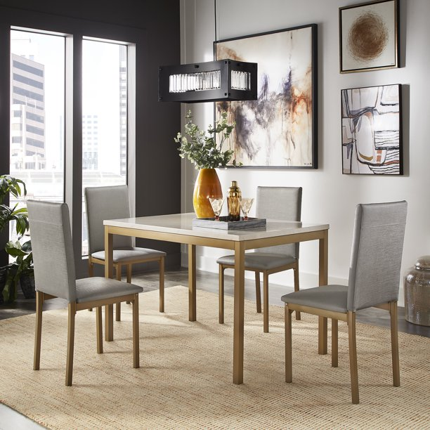 Weston Home Declan 5-Piece Faux Marble Top Gold Metal Frame Dining Set with 4 Faux Grey Leather Chairs