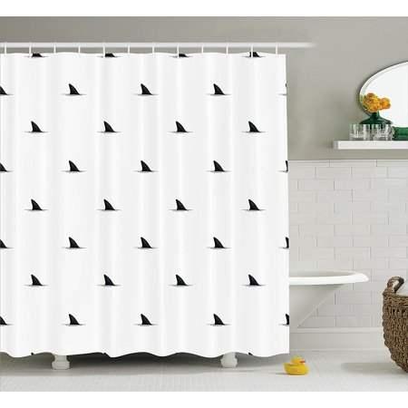 Sea Animals Decor Shower Curtain Set By Pattern Of Shark Fins Speedy Fish Hunting Minimalistic