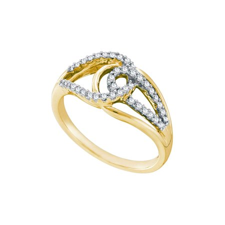 14k Yellow Gold Womens Round Diamond Lasso Loop Knot Fashion Band Ring 1/4
