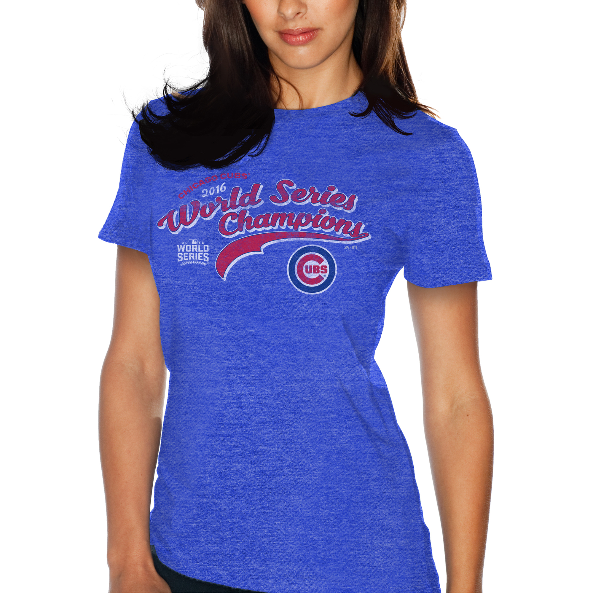 Chicago Cubs Majestic Threads Women's 2016 World Series Champions Victorious T-Shirt - Royal