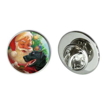 Christmas Holiday Santa and Black Lab Labrador Dog Metal 0.75