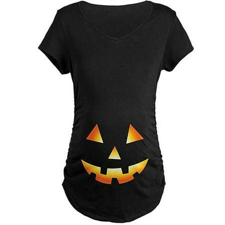 0609c4f23e153 CafePress - Pumpkin Face Halloween Maternity Dark T-Shirt - Walmart.com