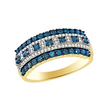 Blue & White Natural Diamond Fashion Band Ring In 10k Yellow Gold (1