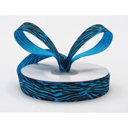 Ribbon Bazaar Grosgrain Zebra Print 5/8 inch Island Blue 25 yards Ribbon](Zebra Print Ribbon)