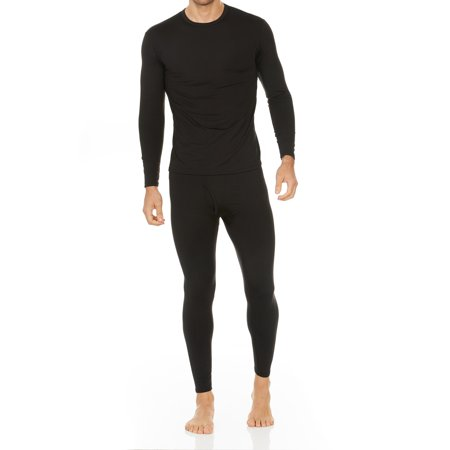 Thermajohn Men's Ultra Soft Thermal Underwear Long Johns Sets with Fleece Lined (Black,