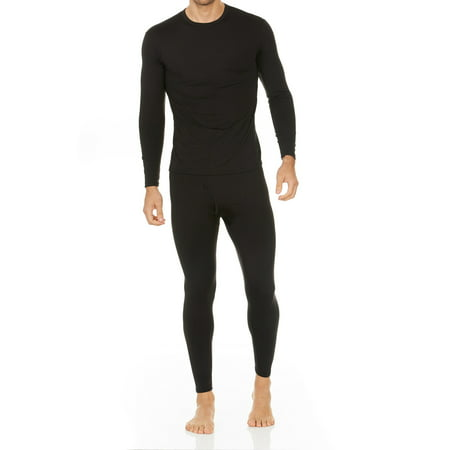 Thermajohn Men's Ultra Soft Thermal Underwear Long Johns Sets with Fleece Lined (Black, (2 Piece Long Underwear Set)