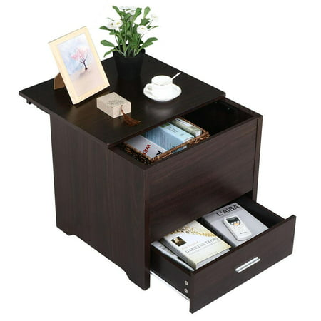 Yaheetech Wood Bedside Table Cabinet with Storage Drawer and Sliding ...