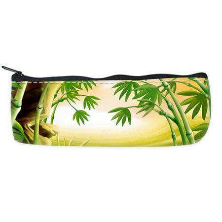 POPCreation High Resolution Bamboo Art School Pencil Case Pencil Bag Zipper Organizer Bag