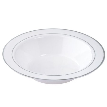 BalsaCircle 10 pcs 12 oz. Disposable Plastic Round Bowls with Trim for Wedding Reception Party Buffet Catering Tableware