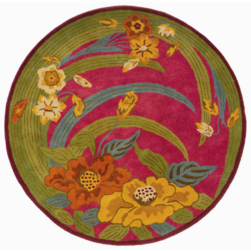 LR Resources Vibrance Pink Tropical Flowers & Leaves Rug