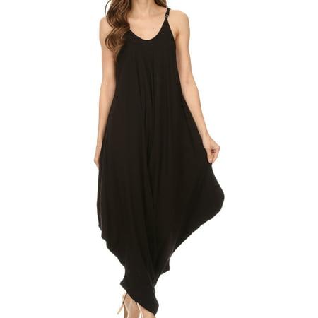 Sakkas Ganesa Sleeveless Spaghetti Strap Long Handkerchief Full Body Jumpsuit - Black - One Size Regular