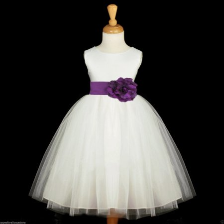 (Ekidsbridal Ivory Satin Tulle Junior Flower Girl Dress Wedding Tulle Dresses Christening Dress Pageant Gown Special Occasion Dresses Communion Dress Evening Gown Baptism Dress Holiday Dresses 831S)