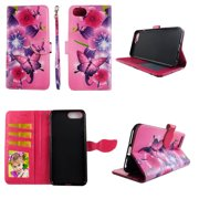 Butterfly Flower Pink Wallet Case for iPhone 6 Plus / 6s Plus  / 7 Plus / 8 Plus Folio Standing Cover Card Slot Money Pocket Magnetic Closure Fashion Flip Pu Leather