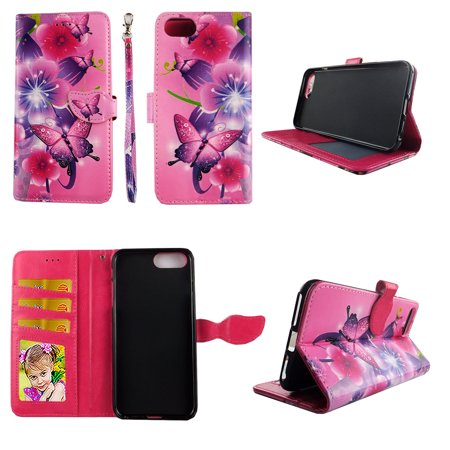 Butterfly Flower Pink Wallet Case for iPhone 6 Plus / 6s Plus  / 7 Plus / 8 Plus Folio Standing Cover Card Slot Money Pocket Magnetic Closure Fashion Flip Pu