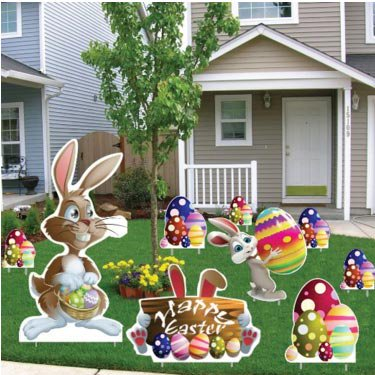 Easter Yard Decoration - Easter Bunnies, Egg Piles, Happy Easter Sign (18 Stakes)