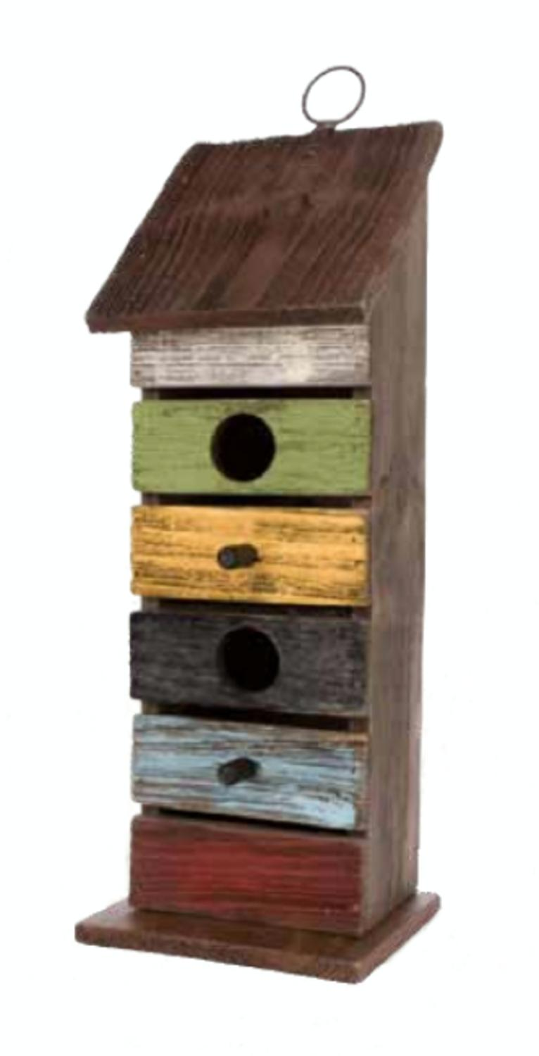 """14.25"""" Vintage Garden Tall Distressed Multi-Colored Wooden Outdoor Patio Birdhouse by CC Outdoor Living"""
