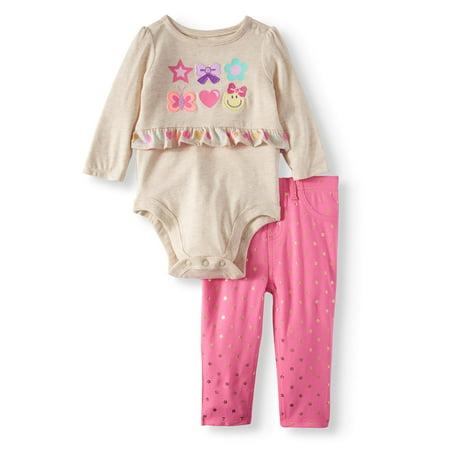 Garanimals Peplum Bodysuit & Jeggings, 2pc Outfit Set (Baby Girls)
