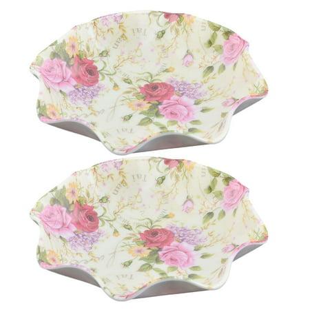 Unique Bargains Family Plastic Rose Flower Pattern Vegetable Fruit Candy Holder Plate Colorful (Colorful Plastic Plates)