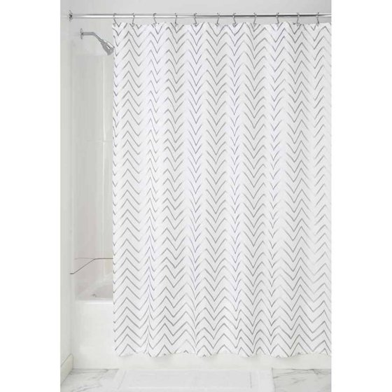 InterDesign Sketched Chevron Shower Curtain Long 72 X 84 Gold