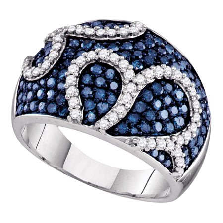 Big Dimond Ring (Blue Diamond Big Cocktail Ring Solid 10k White Gold Wide Fashion Band Dome Round Cluster Style 1-1/2)