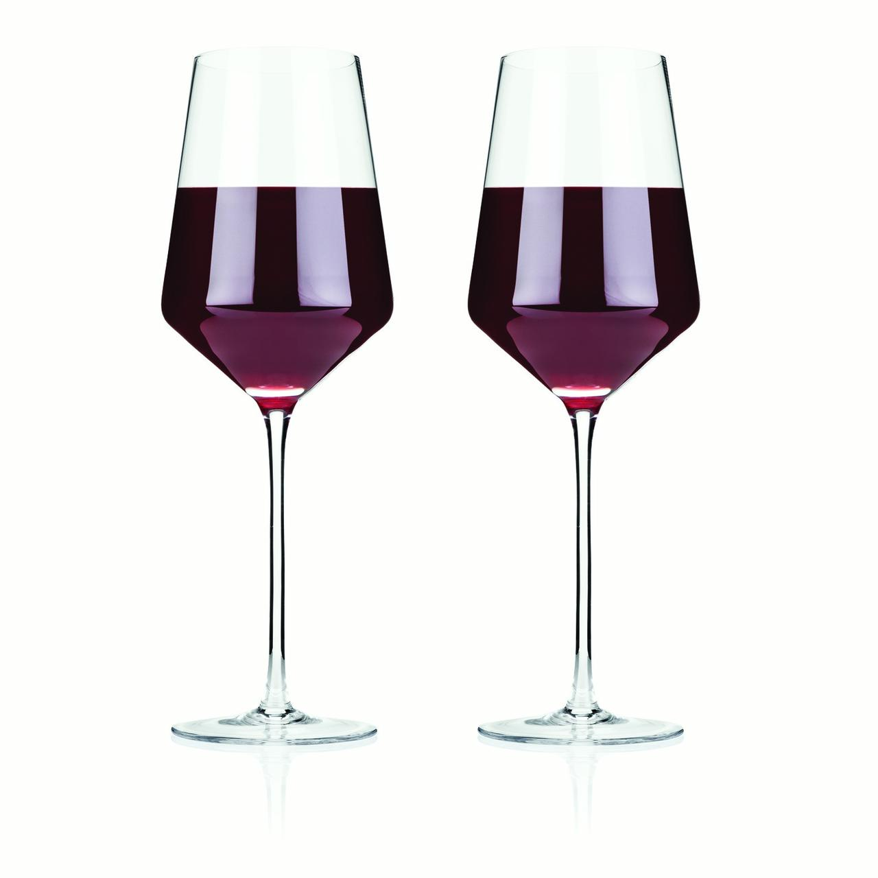 Viski Raye Crystal Bordeaux Glasses (Set of 2) by True Brands