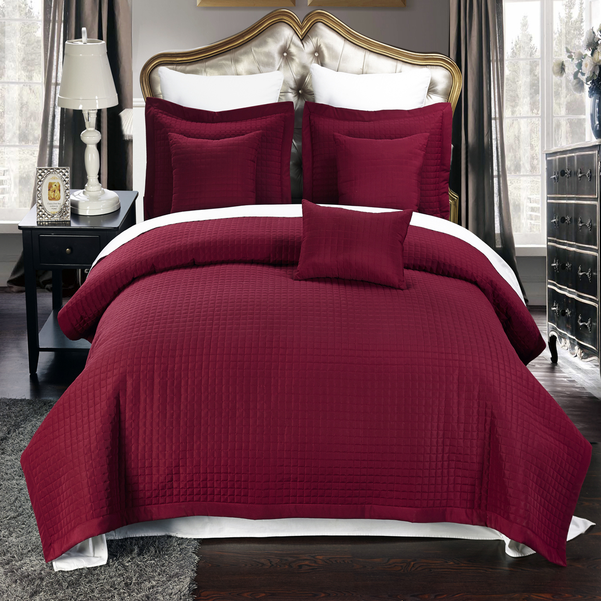 Luxury Soft Checkered Diamond Stitched 3 Piece Coverlet Set Wrinkle-Free Reversible All Season Mini Bedspread Set -Black-Full/Queen