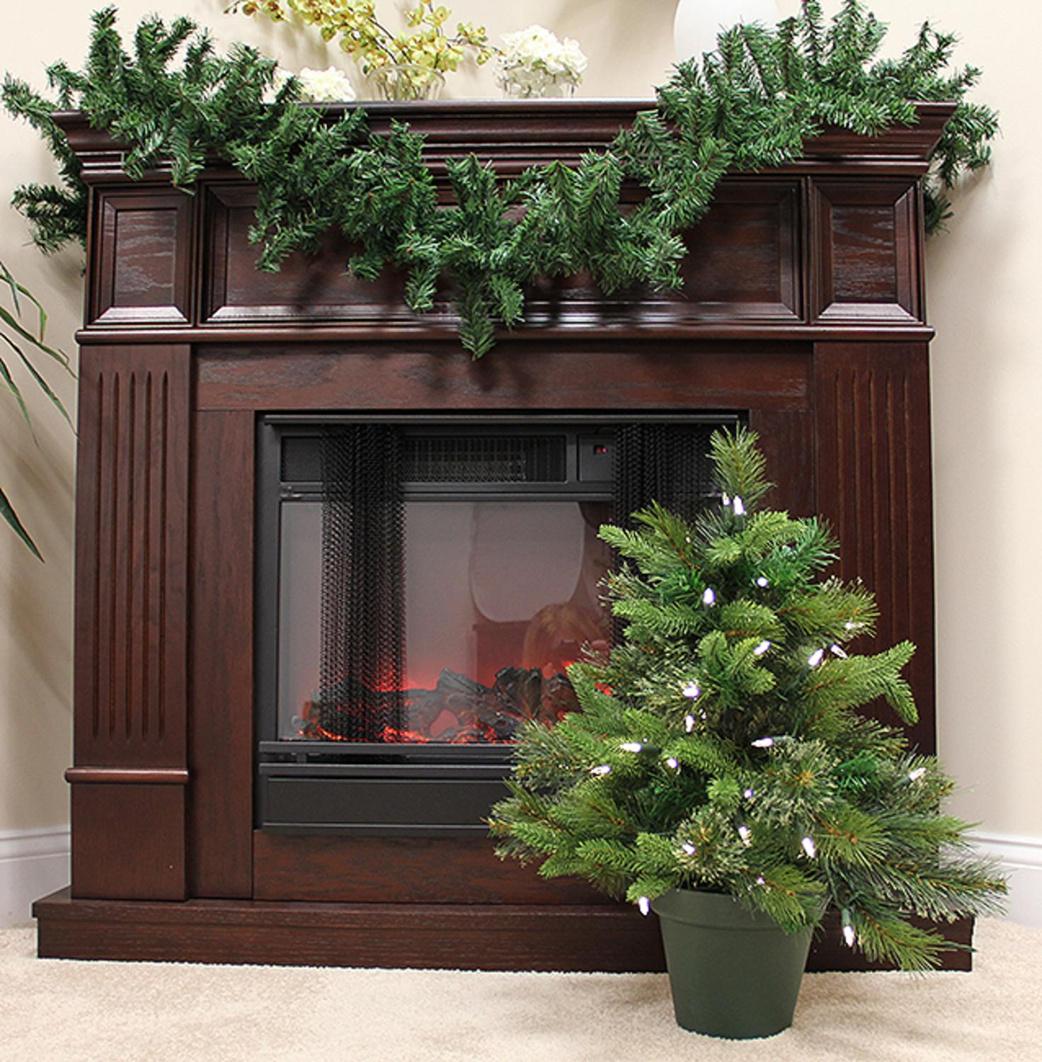 2' Pre-Lit Mixed Pine Cashmere Potted Artificial Christmas Tree ...