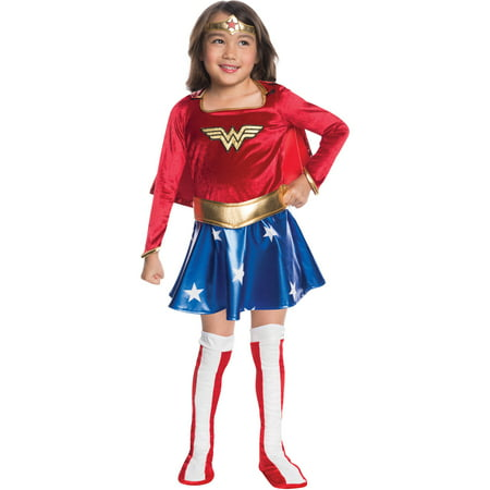 Wonder Woman Child Velvet Deluxe Dress Halloween Costume - Kids Wonder Woman Halloween Costume Deluxe