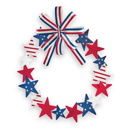 Metal Star Patriotic Wreath with Striped Bow - Festive Decorative Accent for Any Room in Home - Patriotic Door Wreaths