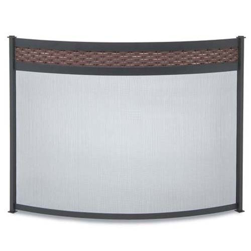 Pilgrim Hearth Basket Weave Bowed Single Panel Steel Fireplace Screen