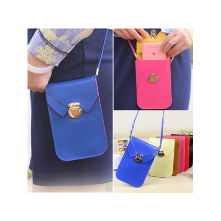 17x11cm PU Leather Shoulder Bag Woman Strap Wallet Purse Portefeuille Mobile Phone Package for under 5.5 Cellphone