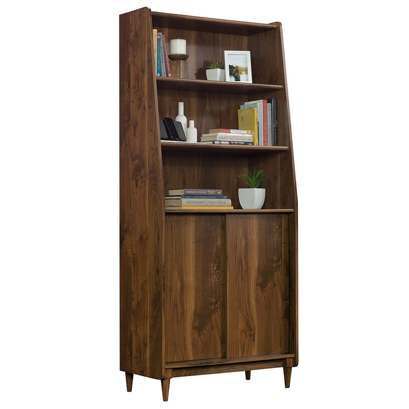 Sauder Harvey Park 3 Shelf Narrow Bookcase in Grand Walnut