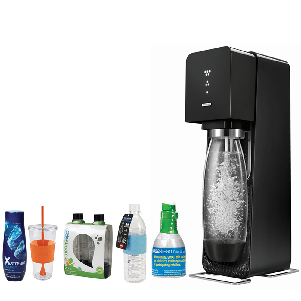 SodaStream Source Home Soda Maker Starter Kit, Black Includes, 1L Carbonating Bottles Blk, Xstream Energy Drink, Hydra Bottle Blue, & Togo Cup Mug Orange