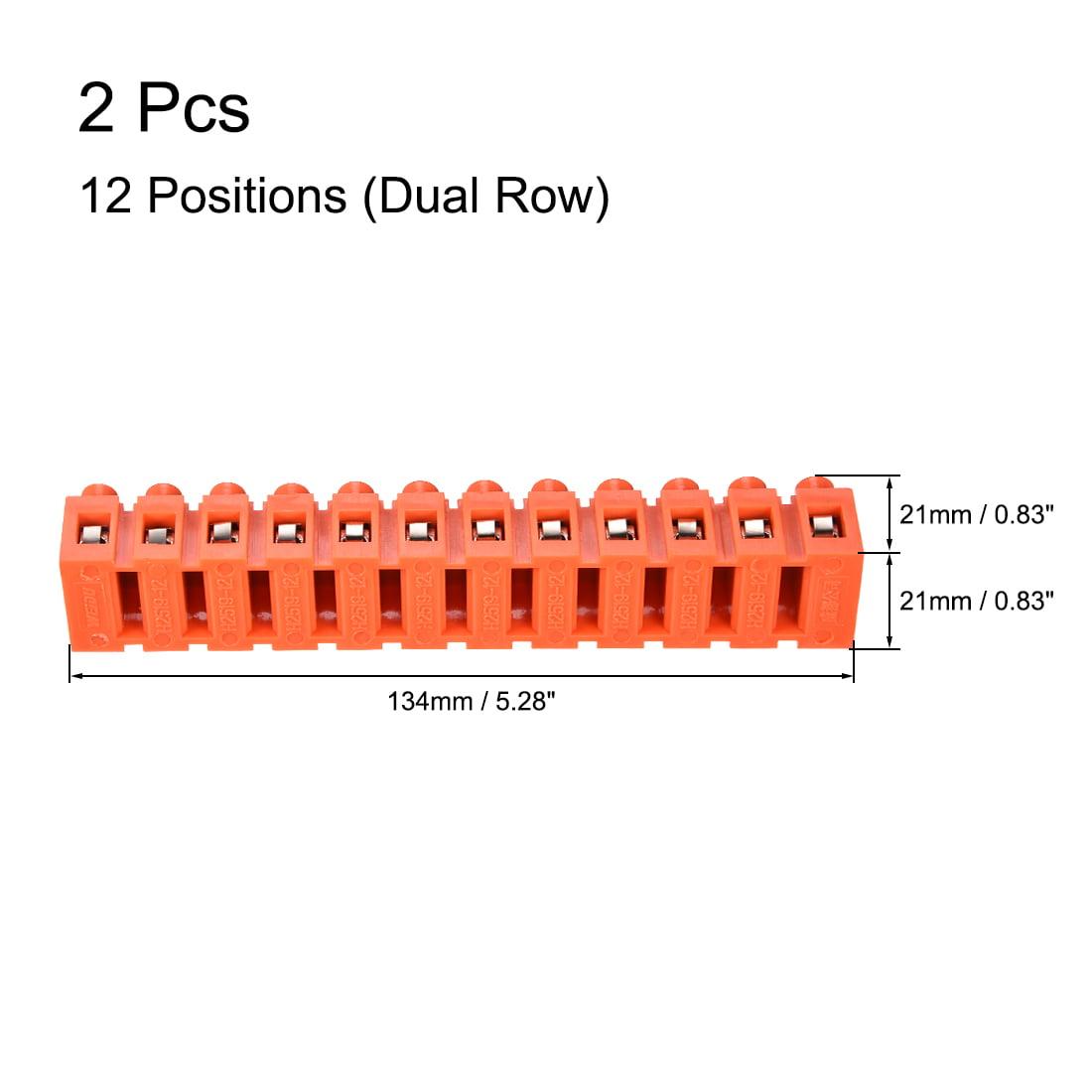 Terminal Block, 600V 36A Dual Row 12 Positions Screw Terminal 2 Pcs - image 1 de 3