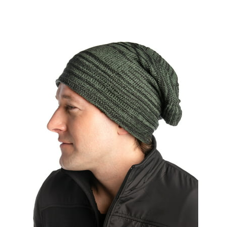 DG Hill Mens Slouchy Beanie Hat Long Striped Ribbed Knit Hat Lightweight Thick Slouch Fitted Hat