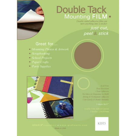 Grafix Double Tack Mounting Film, 9in x 12in, 3-Sheet Convenience Pack