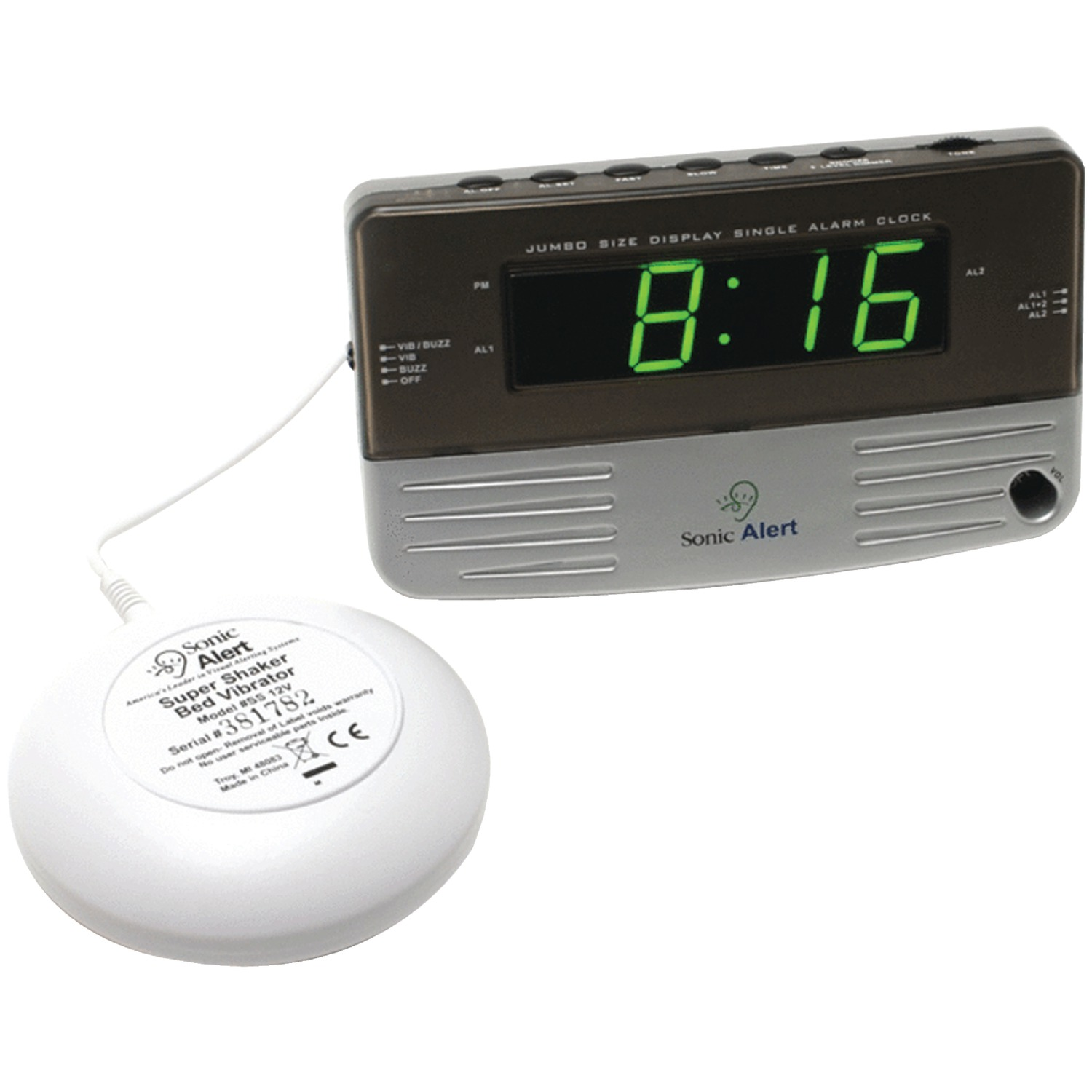Sonic Alert SB200SS Sonic Boom Travel Alarm Clock with Super Shaker