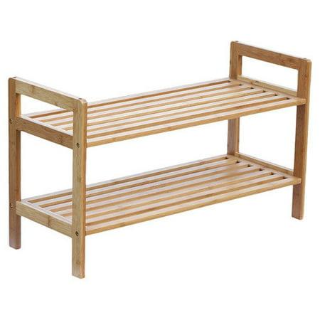 Oceanstar Design 2 Tier Bamboo Shoe Rack