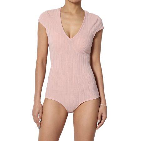 TheMogan Women's Jumbo Rib Deep V-Neck Short Sleeve Thong Bodysuit One-Piece Top