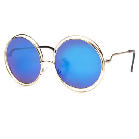 Big Round Oversized Double Wire Sunglasses Metal Frame Retro XXL Vin Shades (Big Shades)