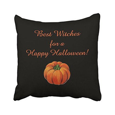 WinHome Vintage Fashion Happy Halloween best witches Simple Pumpkin Pattern Polyester 18 x 18 Inch Square Throw Pillow Covers With Hidden Zipper Home Sofa Cushion Decorative Pillowcases - Best Halloween Pumpkin Patterns