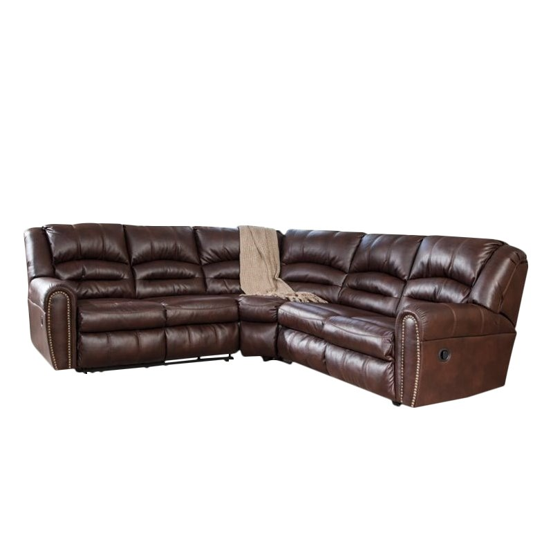 Ashley Manzanola 2 Piece Faux Leather Reclining Sectional in Chocolate by Ashley Furniture