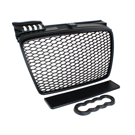 Audi A6 Front Grille - 05-08 Audi A4 B7 Rs4 Style Euro Mesh Badgeless Grille W/ Badge Holder - Black